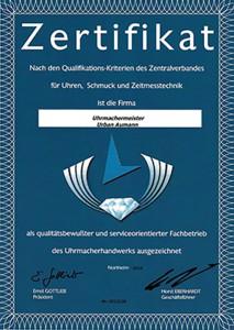 Zertifikat Uhren