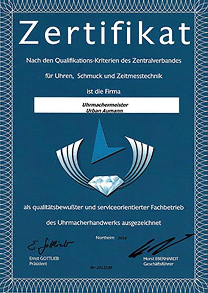 Uhrenwerkstatt Zertifikat