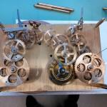 Räderwerk einer Standuhr mit Viertelstunden-Schlagwerk