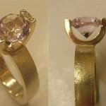 Ring in Gelbgold mit freisthendem gefassten Amethyst und Brillanten