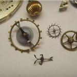 Unruhwelle und Ankersytem einer Taschenuhr
